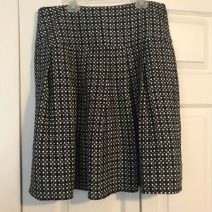 LUX Size 7 Black Gray Cream Pleated Skirt A-Line